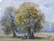 J.H.MOLE (1814-1886) MIDDAY REST, A SIGNED WATERCOLOUR AND ANOTHER OF A SIMILAR SUBJECT SIGNED