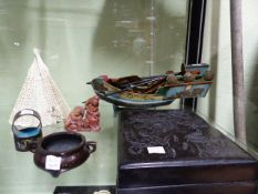 A GROUP OF CHINESE ARTICLES TO INCLUDE A CARVED HARDWOOD SCRIBE'S BOX, A MODEL BOAT, A SOAPSTONE