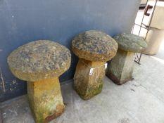 THREE STADDLE STONES