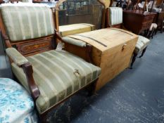 A PAIR OF EDWARDIAN WALNUT, ROSEWOOD AND INLAID SALON ARMCHAIRS.
