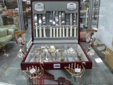 A BOXED SET OF VARIOUS CUTLERY, PLATE,ETC