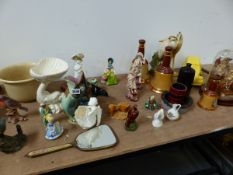 A QTY OF ART POTTERY, CERAMIC ORNAMENTS,TWO ANTIQUE DIARAMA, ONE UNDER GLASS DOME.