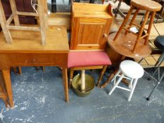 FIVE STOOLS, A PINE TRIPOD TABLE, A WALL CABINET, SEWING MACHINE AND A BRASS JAMPAN.