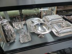 VARIOUS PLATED CUTLERY, TUREENS,ETC