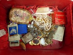 A SELECTION OF VINTAGE COSTUME JEWELLERY TOGETHER WITH A OMEGA STOPWATCH- PRESTONS LTD BLACKPOOL,
