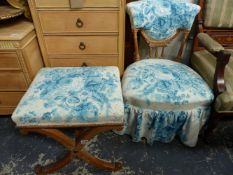 A VICTORIAN SHOW FRAME NURSING CHAIR AND A 19th.C.X-FRAMED STOOL.