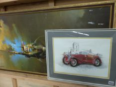 A LARGE PICTURE OF A SPITFIRE AFTER BARRIE A. F. CLARK AND ANOTHER OF A VINTAGE M.G.