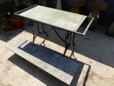 A WROUGHT IRON TABLE WITH MARBLE TOP,ETC
