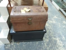 A PAINTED TOOL CHEST AND A TIN TRUNK.