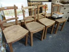 A SET OF EIGHT OAK AND ASH ARTS AND CRAFTS SIDE CHAIRS.