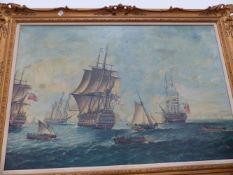 A LARGE GILT FRAMED OILEOGRAPH, BATTLE SHIPS AT SEA.