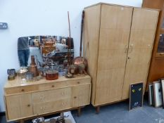 A SATINBIRCH MID CENTURY WARDROBE AND MATCHING DRESSING TABLE.