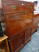 A 19th.C.CAMPAIGN STYLE MAHOGANY FALL FRONT WRITING DESK.