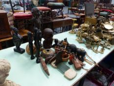 A QTY OF AFRICAN AND EASTERN CARVED FIGURES,ETC.