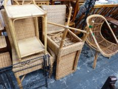A QTY OF VARIOUS RATTAN FURNITURE AND A WROUGHT IRON STANDARD LAMP.