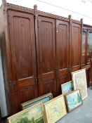 A LARGE 19th.C.GOTHIC REVIVAL LINEN PRESS WARDROBE.