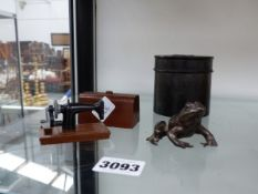 A BRONZE FROG, MINIATURE SEWING MACHINE,ETC.