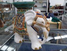 A POTTERY ELEPHANT STAND.