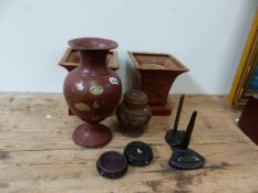 A BOX OF COLLECTABLES, AN UNUSUAL ORIENTAL CARVED WOOD VESSEL, HARDWOOD STANDS,ETC.