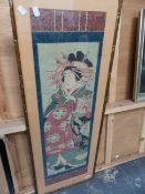 JAPANESE SCHOOL. A COURTESAN, COLOUR WOODBLOCK PRINT. 89x26.5cms.