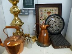 A LARGE COPPER KETTLE, A NEEDLEWORK SAMPLER, AN EASTERN PRINTING BLOCK, A WHITE METAL PANEL,ETC.