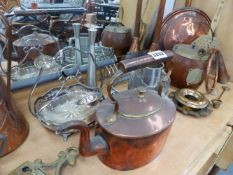 A QTY OF VICTORIAN AND LATER COPPER, BRASS AND METALWARES.