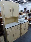 TWO HOUSE PROUD ALLOY AND ENAMELLED KITCHEN UNITS.