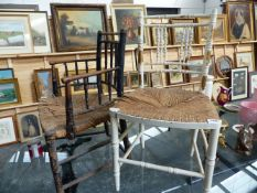 TWO VICTORIAN RUSH SEAT CHAIRS.