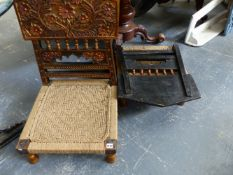 TWO EASTERN POLYCHROME DECORATED LOW CHAIRS WITH CARVED BACKS.