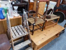 A SET OF PINE SCULLERY STEPS, THREE STOOLS AND A SMALL TABLE.