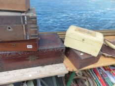 VARIOUS VICTORIAN WORK BOXES FOR RESTORATION.