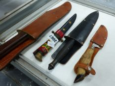 FOUR VARIOUS KNIVES WITH SHEATHS.