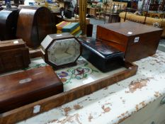 A VICTORIAN WRITING BOX, VARIOUS OTHER BOXES AND AN ART DECO MANTLE CLOCK BY MANSELL.