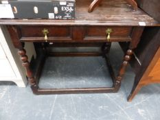 AN 18th.C.AND LATER OAK SIDE TABLE WITH DRAWER AND BASE STRETCHERS.
