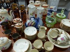A QTY OF VARIOUS VICTORIAN AND LATER CHINAWARES AND TWO GLASS BASKETS.
