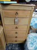 A TALL PINE CHEST OF SIX DRAWERS.