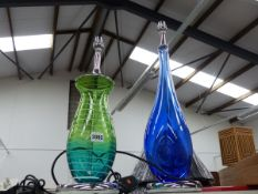 TWO GLASS LAMPS AND SHADES.