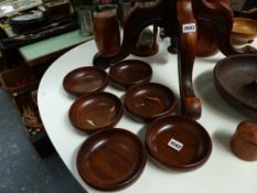 A QTY OF TREEN NUT BOWLS,ETC.