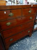 AN EARLY 19th.C.MAHOGANY AND EBONY STRUNG CHEST OF TWO SHORT, THREE LONG DRAWERS.