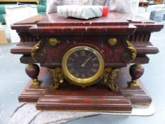 RED MARBLE MANTLE CLOCK.