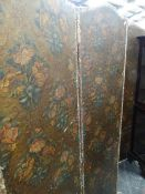 A VICTORIAN EMBOSSED FOUR FOLD SCREEN.