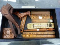 WOODEN RULERS, THERMOMETERS, ETC.