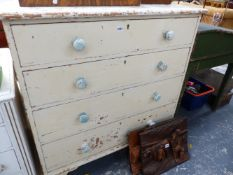 A VICTORIAN PAINTED PINE CHEST OF FIVE LONG DRAWERS.