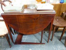 A 19th.C.MAHOGANY DROP LEAF SUPPER TABLE.