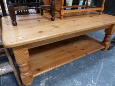 A LARGE PINE COFFEE TABLE.
