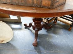 A VICTORIAN WALNUT TOPPED LOOE TABLE FOR RESTORATION.