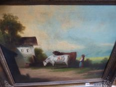 19th.C.CONTINENTAL SCHOOL, A FARMYARD SCENE, OIL ON CANVAS. 55x68cms.