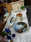 A LARGE PORCELAIN FISH PLATE AND VARIOUS CHINA,GLASS AND BRASSWARES.