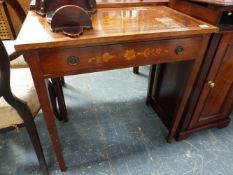 AN EDWARDIAN MAHOGANY AND SATINWOOD INLAID SIDE TABLE.