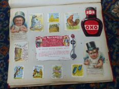 VARIOUS EPHEMERA AND COMMERCIAL LABLES CONTAINED IN A SCRAPBOOK.